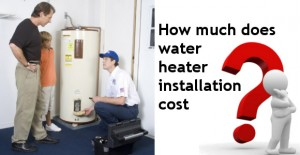 A father and son asking how much water heater installation cost?