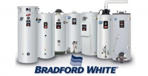 A lineup of different water heater models by Bradford white