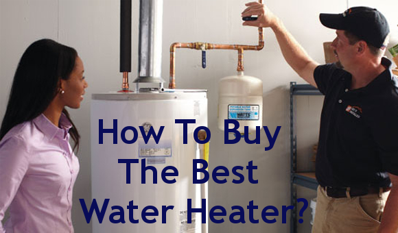 A salesman with a customer teaching her what to look for in a water heater